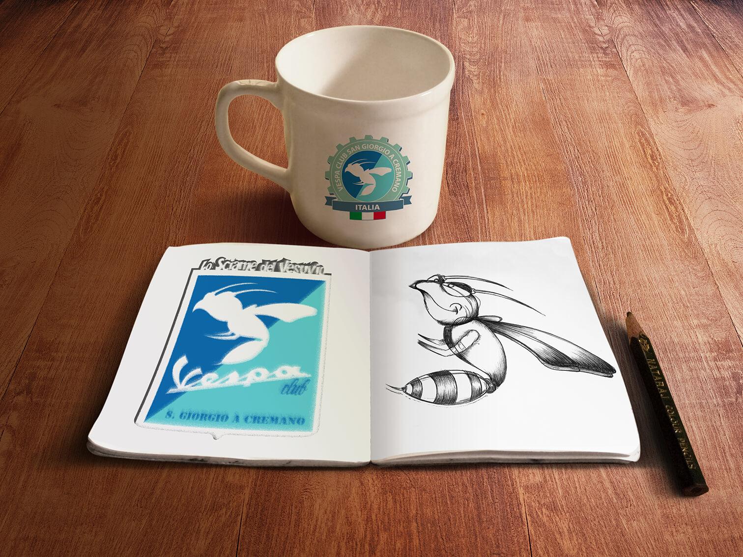 Vespa Club Vesuvio San Giorgio a Cremano book-coffeecup-mockup