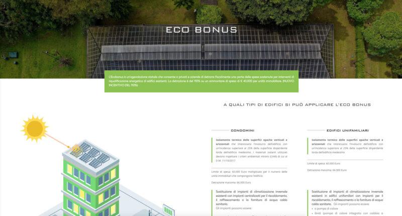 Pagina Eco Bonus con parallasse e vettoriali animati