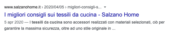 Snippet Google Salzano per Tessili Cucina