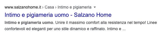 Snippet Google Salzano per Intimo e pigiameria uomo