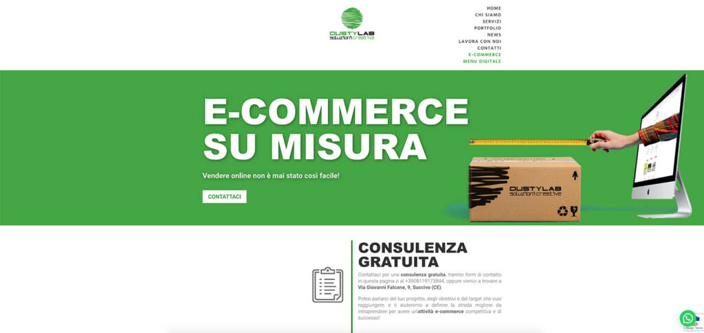 Landing page pagina e-commerce Dusty Lab